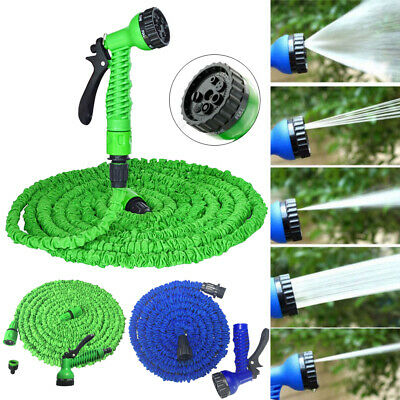 25 50 75 100 FT Latex Expanding Flexible Garden Water Hose With Spray Nozzle