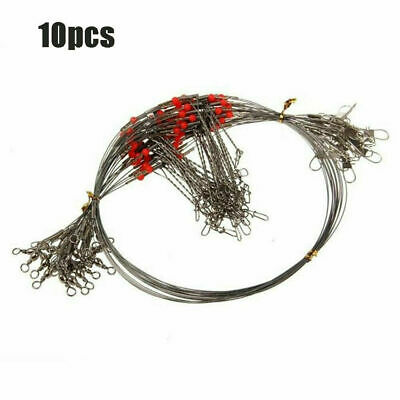 10pcs Fish Hook Rope Wire Fishing Wire Line Leader Trace With Snap Safety Snaps
