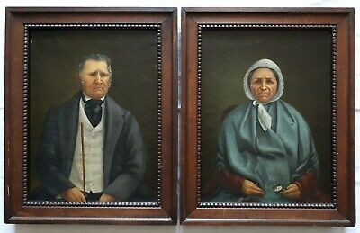 Pair Paintings Antique Oil on Canvas Portraits Man and Woman H. B.19th