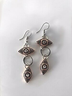 Rose Gold Eye of Horus Eye of Ra Earrings Silver Ear Hook ancient Egyptian