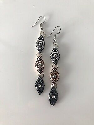 Silver Rose Black Eye of Horus Earrings Ear Hook ancient Egyptian