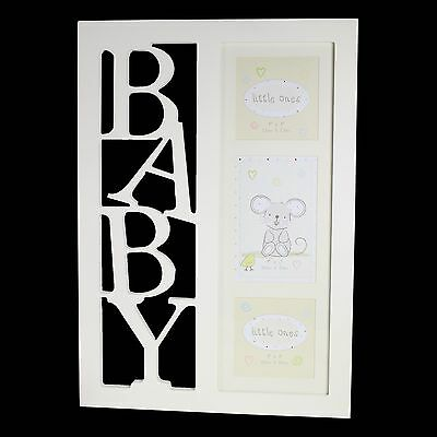 """New BABY Christening """"Little Ones"""" Unisex BABY Triple Picture Photo Frame"""