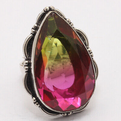 ZF1937 Ametrine Quartz & 925 Sterling Silver Plated Ring US 8.5 Jewelry
