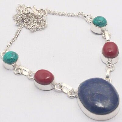 """ZH382 Lapis Lazuli, Red Coral, Turquoise 925 Silver Plated Necklace 16"""" Jewelry"""