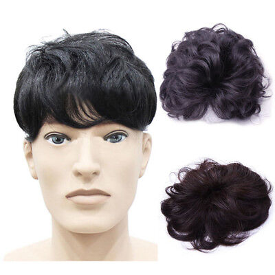 100% Remy Human Hair Curly Clip in Hair Topper Hairpiece Toupee Top Piece Men