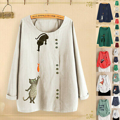 Plus Size Women Cotton Linen Cat Fish Print Long Sleeve Loose Tops Shirt Blouse