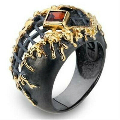 Luxurious Men's 18K Filled Black Gold Band Ring Wedding Jewelry Gift Size 6-10