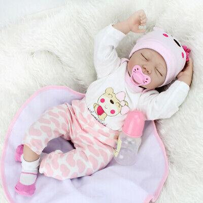 "22"" Reborn Baby Doll Lifelike Sleeping Girl Dolls Rooted Mohair Vinyl Silicone"