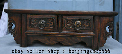 "16.8"" Old Chinese Huanghuali Wood Dynasty 2 Drawer Table Desk Classic Furniture"