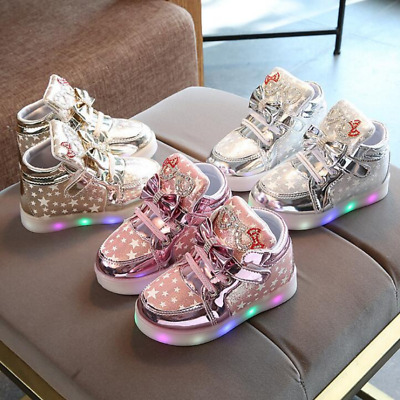 Hello Kitty Rhinestone Led Shoes Girls Princess Children's Sneakers With Light