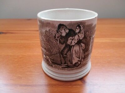 Antique 19Th Century Child's Mug/Cup With Black And White Transfer Print Design