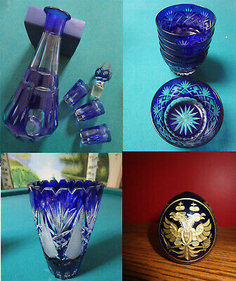 Bohemian Glass Cobalt Cut To Clear Vase Decanter Shot Paperweight Russian Egg