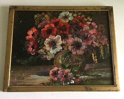 Impressionist Impasto Flowers Still Life Study Antique Oil Painting on Board
