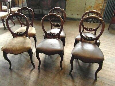 Set Of Six Quality Victorian Cabriole Leg Cameo Back Dining Chairs