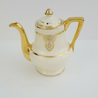 VTG Gold Ivory Teapot Fraunfelter China Thermo-proof Zanesville Ohio