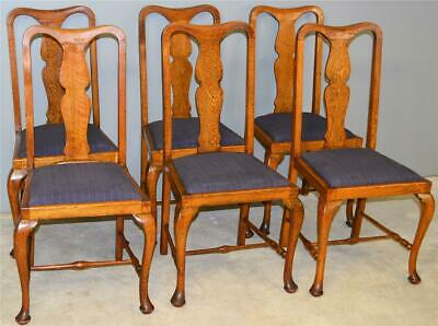 17714 Set of Six Oak Queen Anne Dining Chairs – Unusual