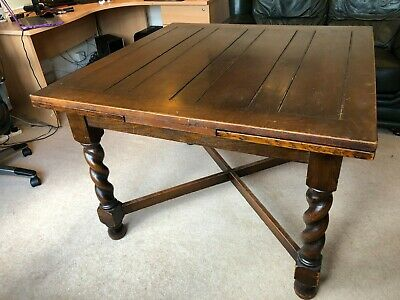 Large Oak Dining Table with Extending Draw Leaves and Barley Twist Legs
