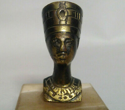 Vintage Old Copper Statue Egyptian Queen Nefertiti With Original Marble Base 2""