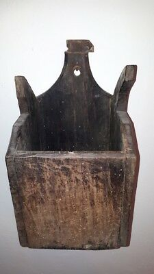 Antique Primitive Old Hand Carved Wooden Big Wall Hanging Kitchen Box