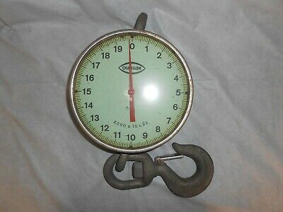 """Vintage """"Chatillon Wt-10"""" Hanging Crane Scale 2000 X 10 Crosby Laughlin 3T Hook"""