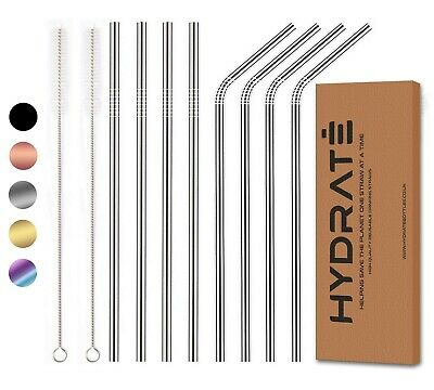 Stainless Steel Straws - Reusable Metal Straw - (4 or 8 pack) -  Colour Options