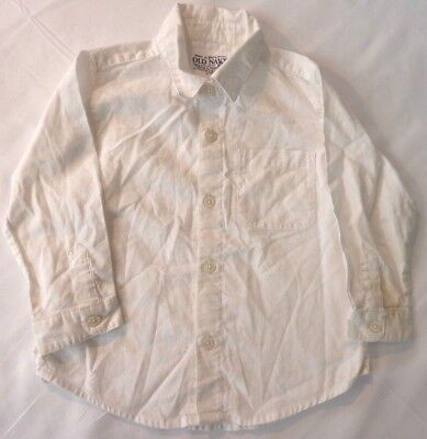 Old Navy White long sleeve collared button down dress shirt s:2T