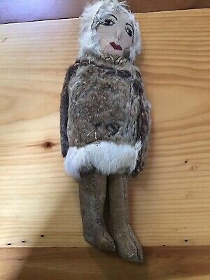 "Very Old Inuit Eskimo 12"" Doll Alaska Antique Leather Fur Beads"