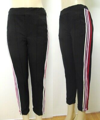 New ZARA Black Trousers with multi color Side Stripe Pants Black White Pink $45
