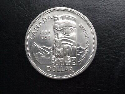 """1958 Canada (( Totem Pole )) Silver Dollar  """"""""Unique Dot"""""""" Behind Queen's Hair"""