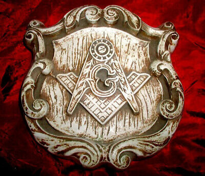 HISTORIC Old MASONIC SYMBOLS Ornate GOTHIC WALL PLAQUE! Medieval CATHEDRAL STYLE
