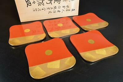 S9769: Japanese Wooden Lacquer ware SERVING PLATE/dish 5pcs, w/signed box