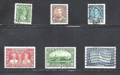 Canada Kgv Silver Jubilee Issues Scott 211-216 Vf Used (Bs12969)