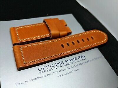 Gold Panerai 26Mm Genuine Leather Strap Band - 26X26Mm Camel Brown