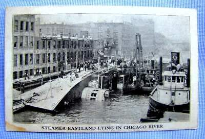 1915 PC (postcard) SS EASTLAND sinks Chicago 844 drown: BODY RECOVERY   (A-9)