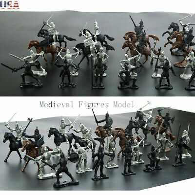 28Pcs/Set Medieval Military War Warriors Ancient Soldier Static Military Figure