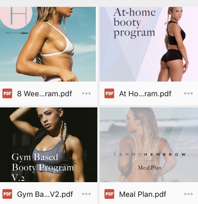 Tammy Hembrow - 8 week booty, home, gym, and meal plan 4 BOOKS BUNDLE
