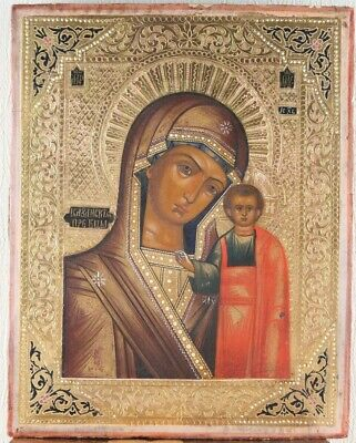 Russian icon Kazan Mother of God 19th century 100% original