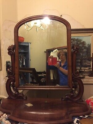 antique timber toilet mirror