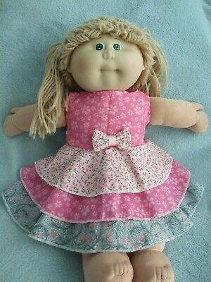 """16"""" CABBAGE PATCH Dolls Clothes / LAYERED DRESS / three layers-pink/florals"""