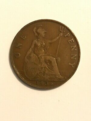 1936 one penny coin King George V - condition as pictured 1p Old Big Pence Hunt