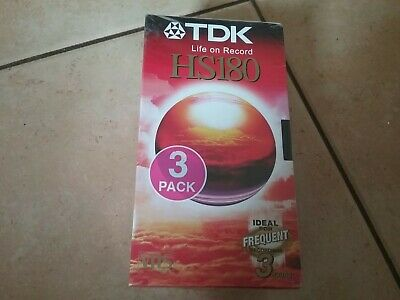 LOT DE 3  VHS K7 VIDEO TDK POUR MAGNETOSCOPE 180 MN ( neuves sous blister ) ++++