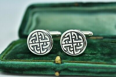 Vintage Sterling Silver cufflinks with Celtic knot design Peaky blinders #G986