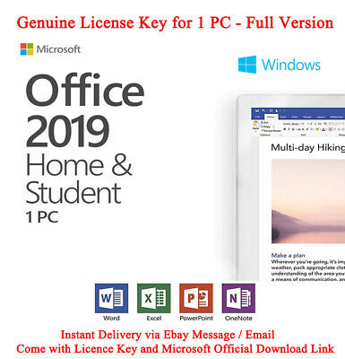 Microsoft Office 2019 Home and Student For Windows Genuine License Key one PC