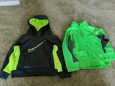 Boys Nike Therma Fit Hooded Sweatshirt and Under Armour zip up Size 2T