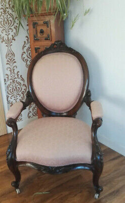 Victorian Mahogany Spoon Back Armchair. Ornate Carved Wood. c1870