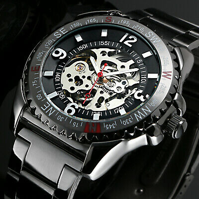 Skeleton Mechanical Automatic Men's Watch Silver Case Stainless Steel Black Dial
