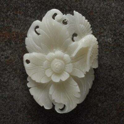 Hand Carved Flower Natural Buffalo Bone 36X27X4Mm Pendant Bead