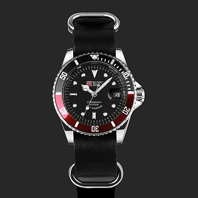 Military Royale Black Red Mens Watch Stainless Steel Case Leather Automatic