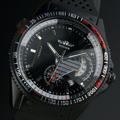 Automatic Mechanical Men??s Watch Rubber Strap Self-winding Black Dial Auto Date
