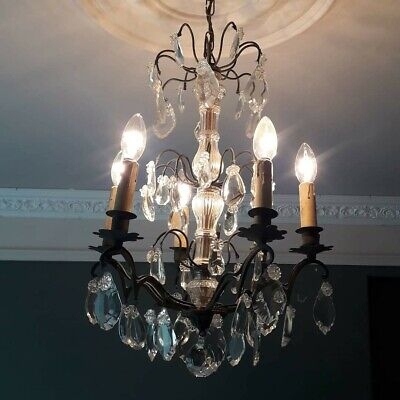 FRENCH ANTIQUE CHANDELIER. 6 ARM. BRONZE, GLASS & CRYSTAL PENDALOGUE. C 1890s